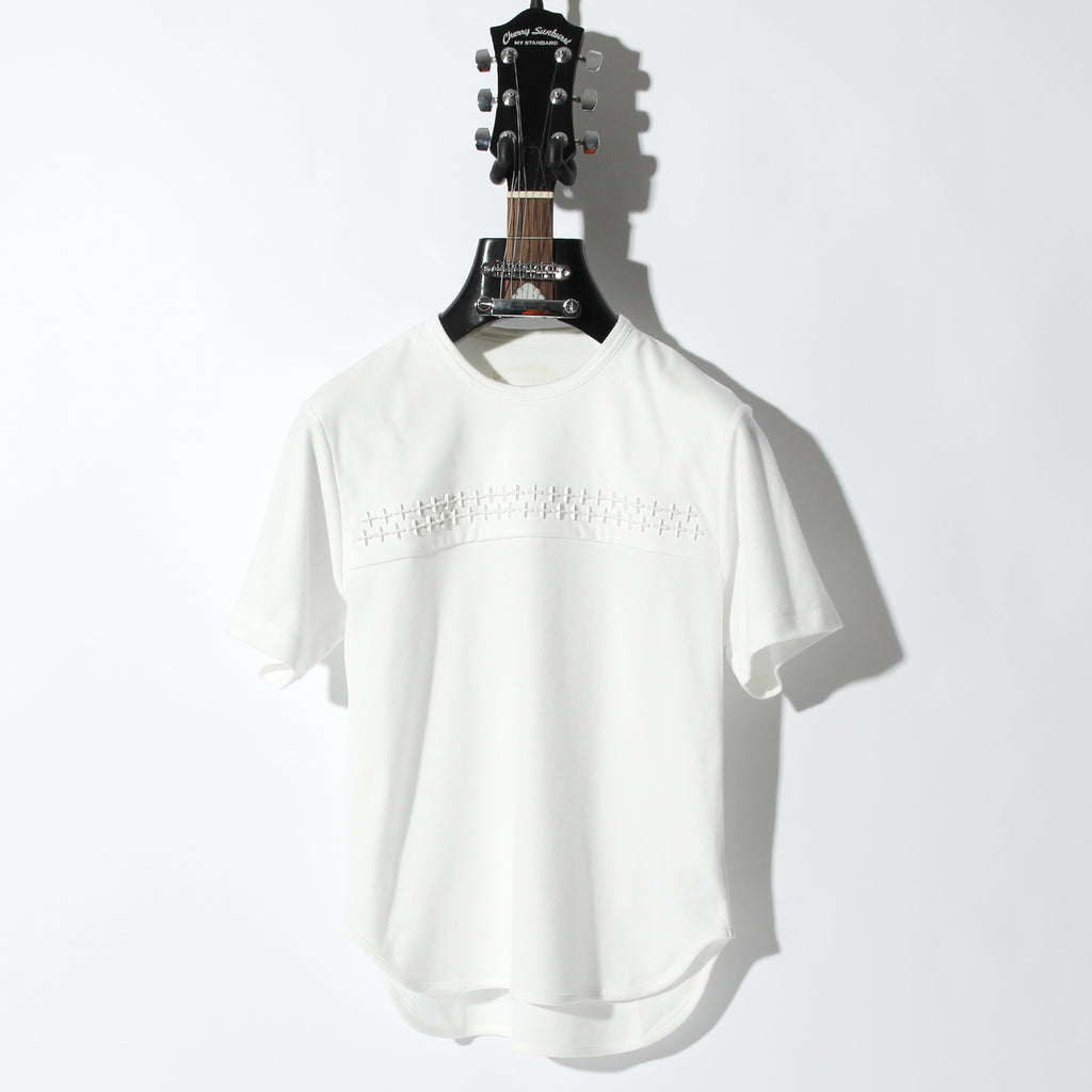 Cherry Sunburst COMPACT PILE CROSS STUDDED SHORT SLEEVE / A:OFF WHITE