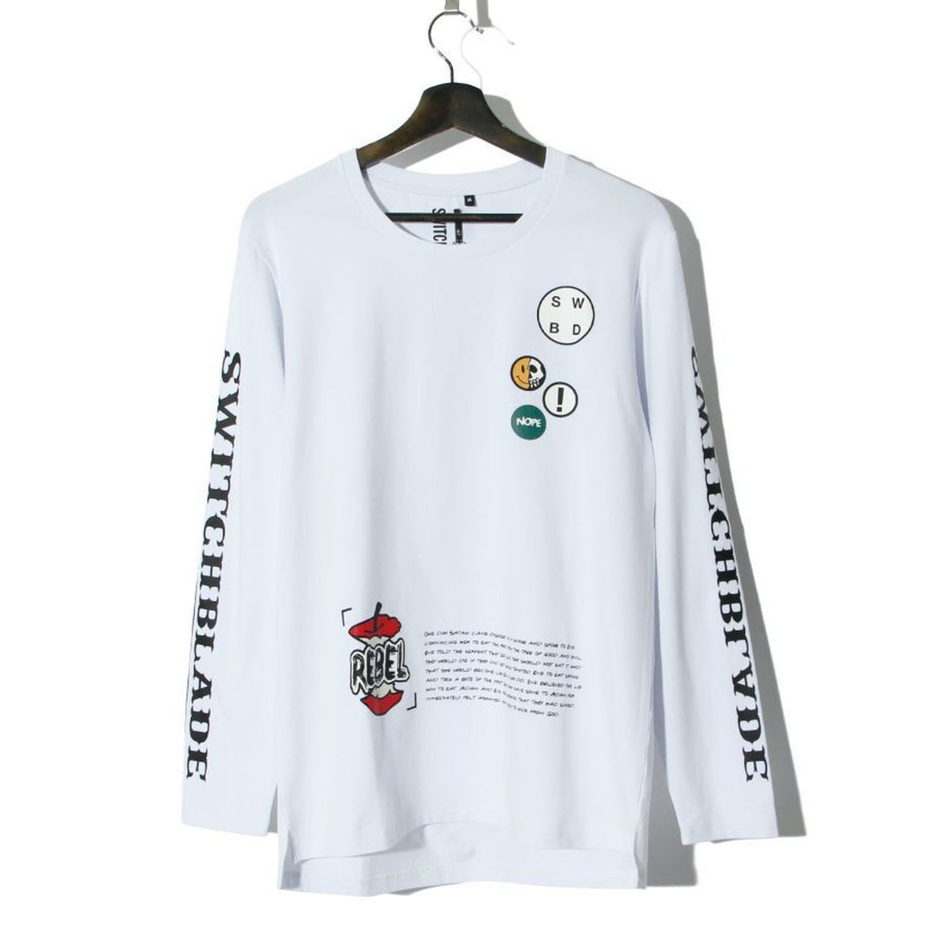 SWITCHBLADE PATCHES L/S TEE / WHITE
