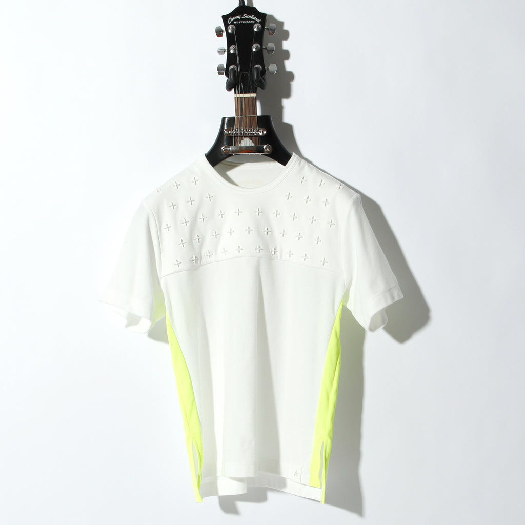 COMPACT PILE SIDE LINE CROSS STUDDED SHORT SLEEVE / C:OFF WHITE×NEON YELLOW