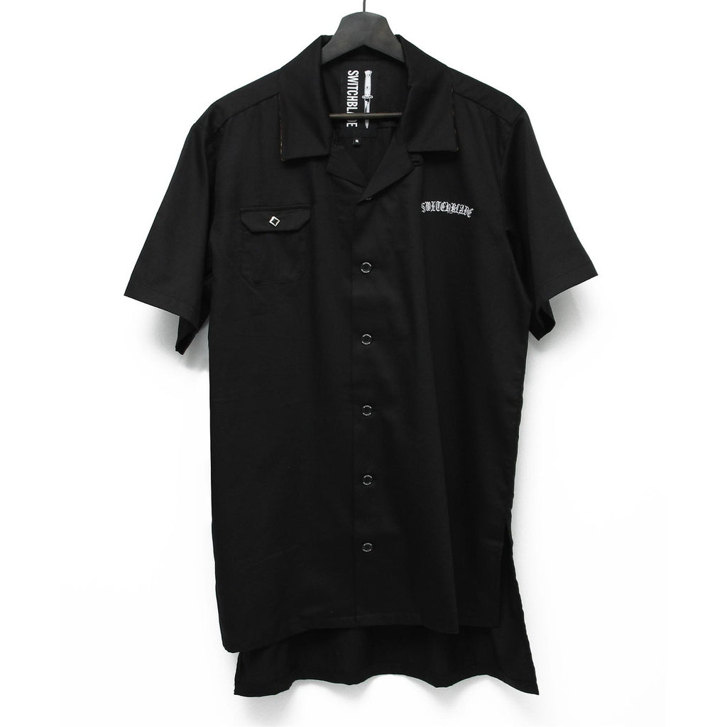 EMBROIDERY SHORT SLEEVE SHIRT / BLACK