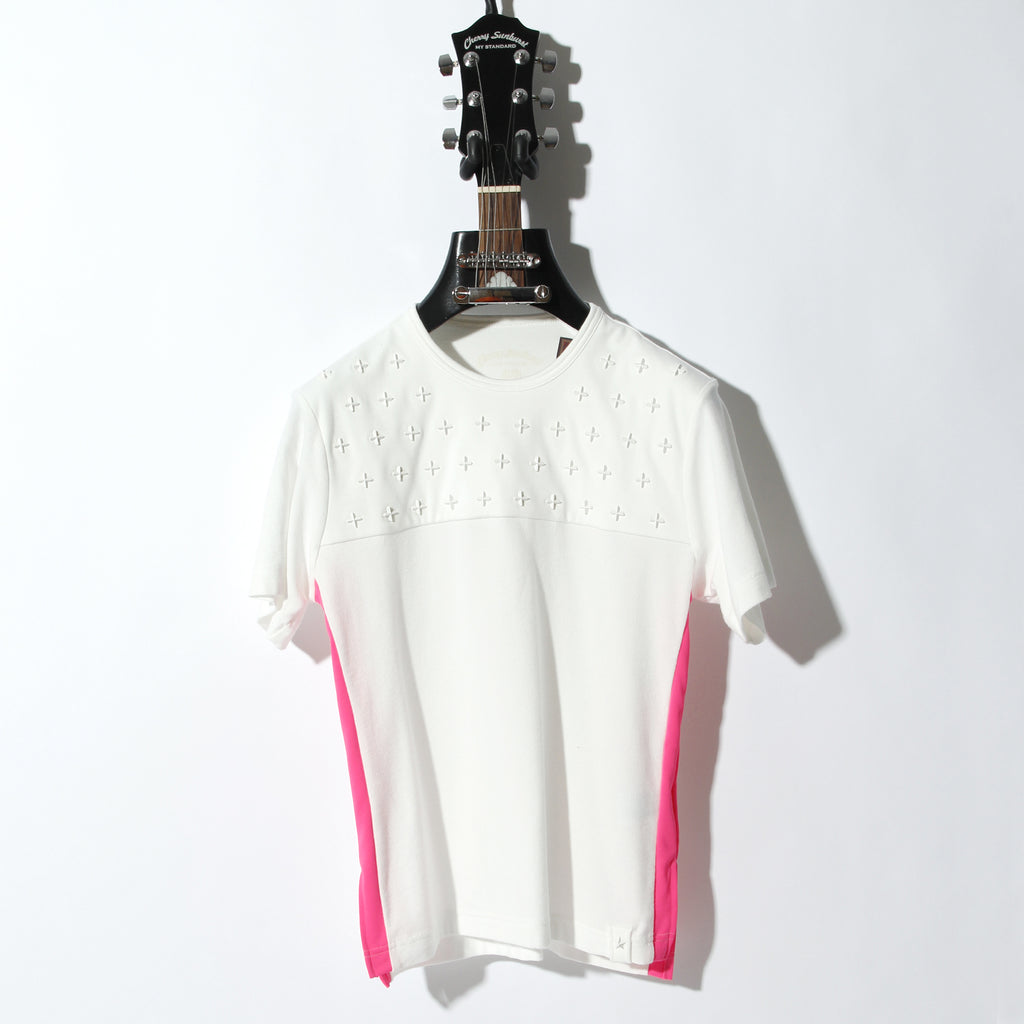 Cherry Sunburst COMPACT PILE SIDE LINE CROSS STUDDED SHORT SLEEVE / B:OFF WHITE×NEON PINK