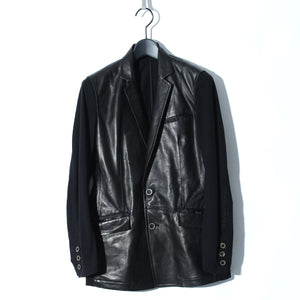 【予約商品】Sheep Leather Switching Jacket / BLACK