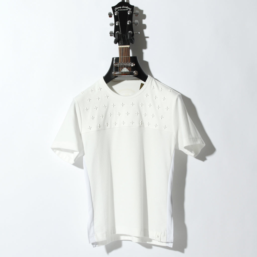 Cherry Sunburst COMPACT PILE SIDE LINE CROSS STUDDED SHORT SLEEVE / A:OFF WHITE×ICE WHITE