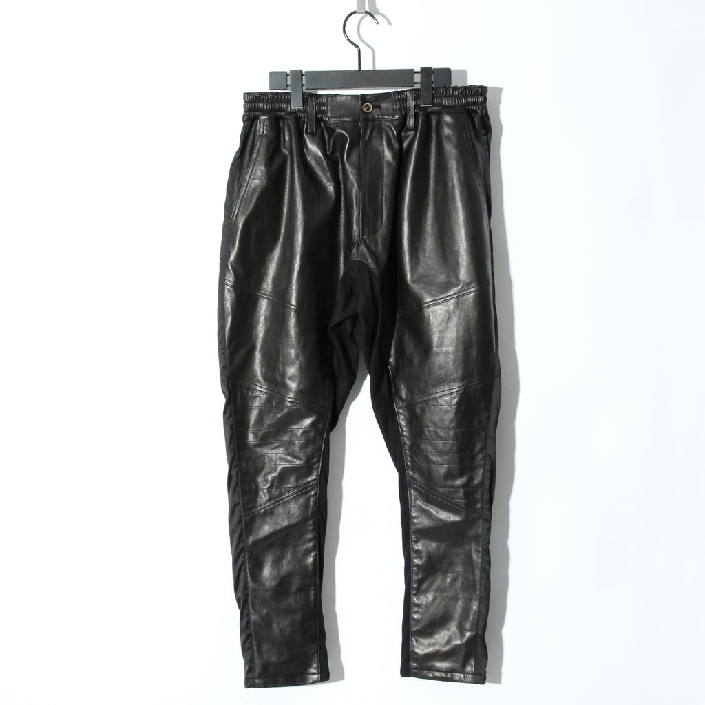 BLACK HONEY CHILI COOKIE Sheep Leather Switching Pants / BLACK
