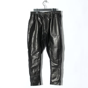 【予約商品】Sheep Leather Switching Pants / BLACK