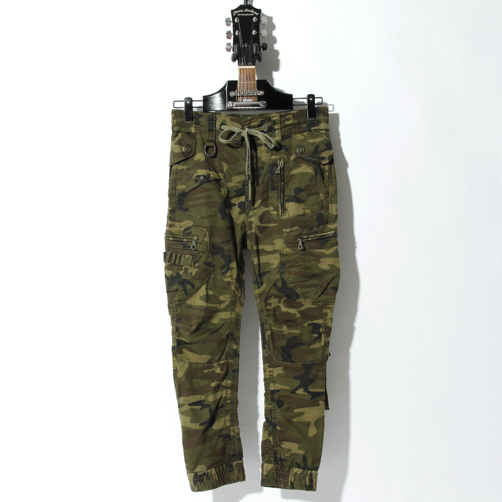 ARMY BROKEN STRETCH GARMENT DYEING CARGO PANTS / D:CAMOFLAGE