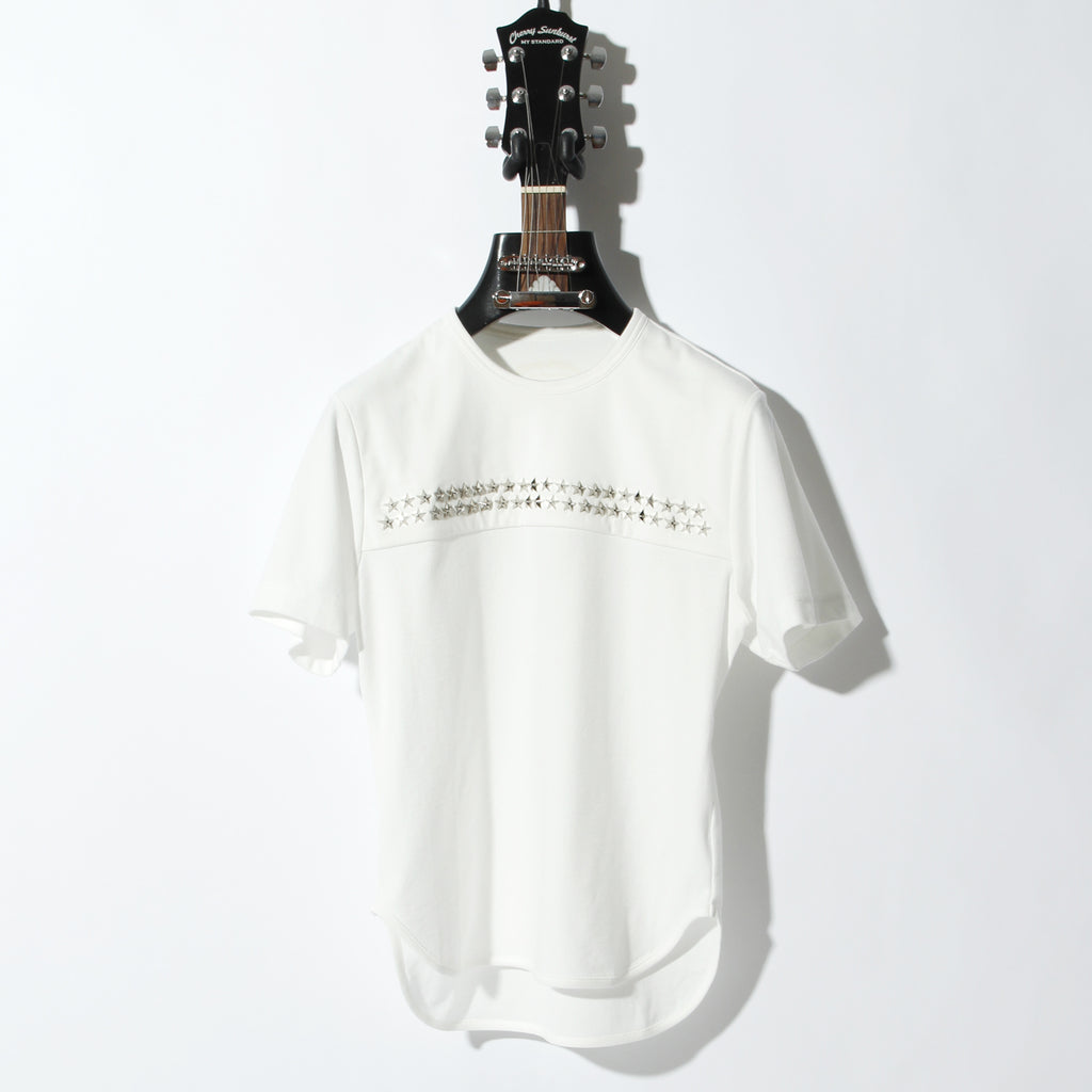 COMPACT PILE CHROMIUM STAR STUDDED SHORT SLEEVE / A:OFF WHITE