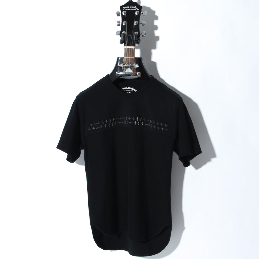 COMPACT PILE CROSS STUDDED SHORT SLEEVE / B:BLACK