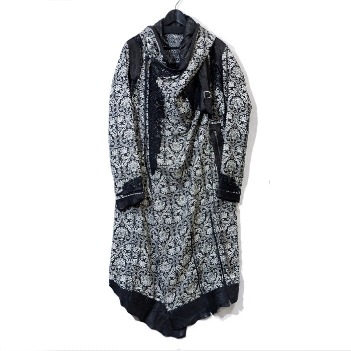 Shohei Takamiya Jacquard Hood Long Coat / BLACK
