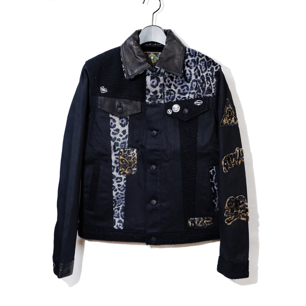 Roen CRAZY PATTERN DENIM JACKET / BLACK