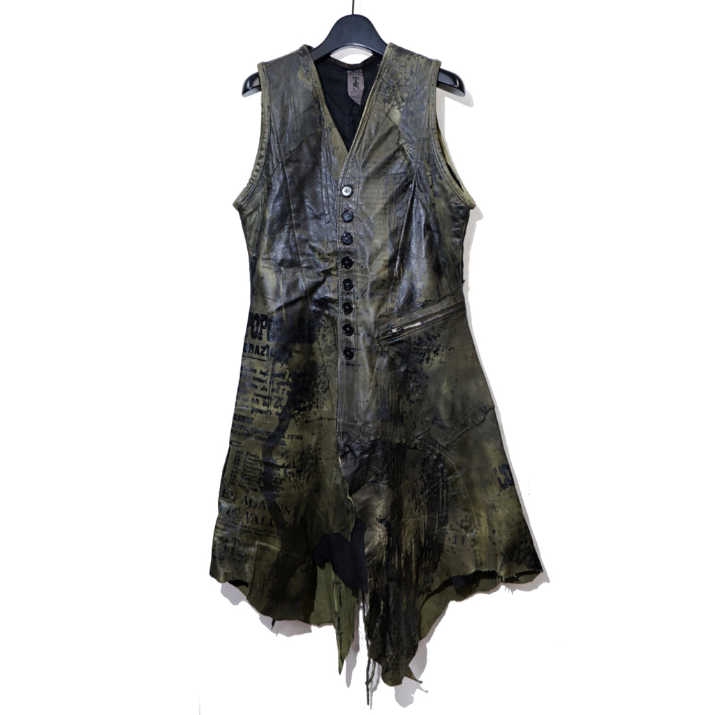 【Shohei Takamiya】Coating Leather Military Long Vest / KHAKI