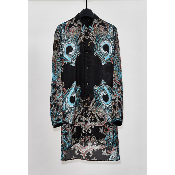 YS Yuji SUGENO Paisley Panel Print Semi-Long Shirt / BLACK