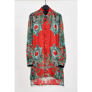YS Yuji SUGENO 【予約商品】Paisley Panel Print Semi-Long Shirt / RED