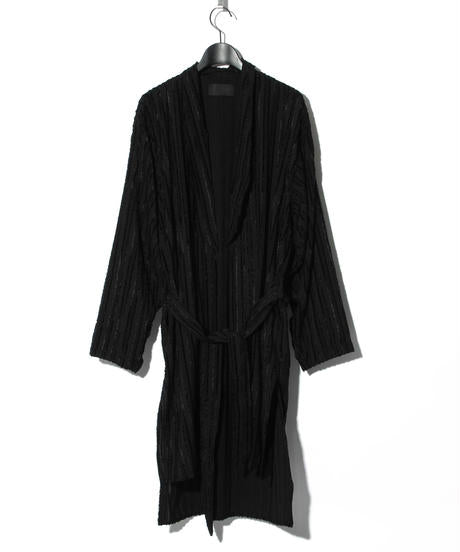Cut Jacquard Striped Long Shirt Gown / BLACK