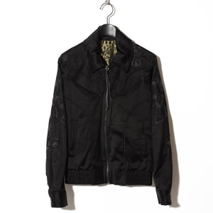 BLACK HONEY CHILI COOKIE Rose Embroidery Satin Blouson / BLACK