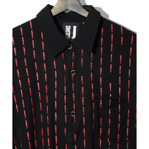 SWITCHBLADE KNIFE PIN STRIPE LONG SHIRT / BLACK×RED
