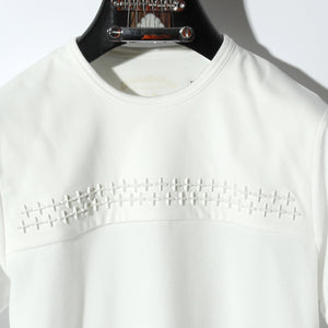 COMPACT PILE CROSS STUDDED SHORT SLEEVE / A:OFF WHITE