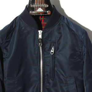 HIGH COUNT NYLON TWILL #0 OVERLOCK BOMBER JACKET / A:NAVY