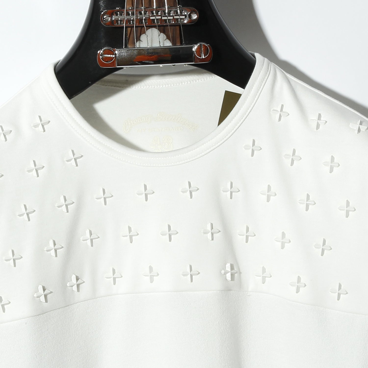 COMPACT PILE SIDE LINE CROSS STUDDED SHORT SLEEVE / A:OFF WHITE×ICE WHITE