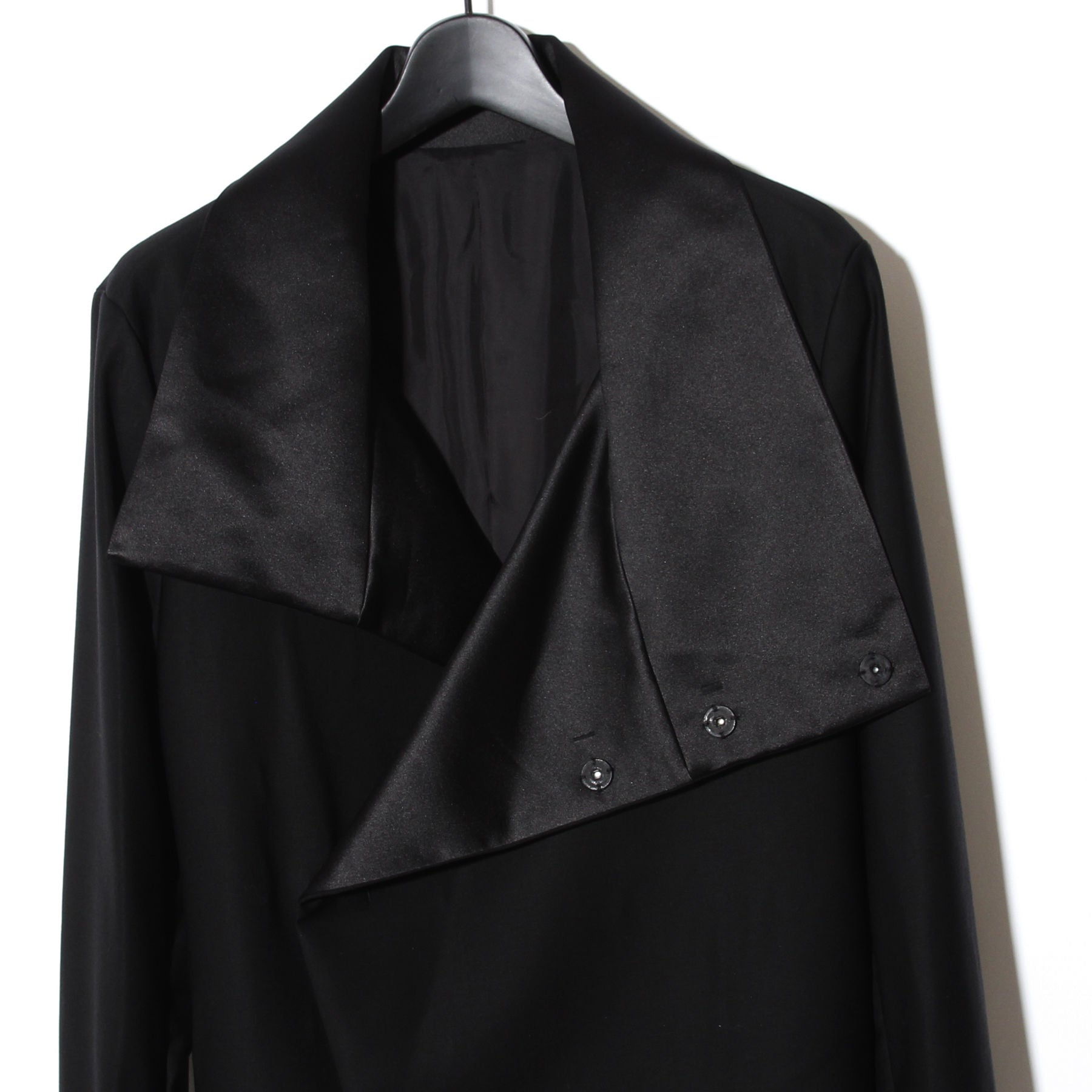 Black tuxedo cross High color wrap Coat / BLACK