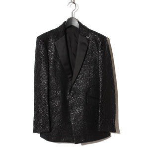 Black Foil Tweed Notch lapel Jacket / BLACK