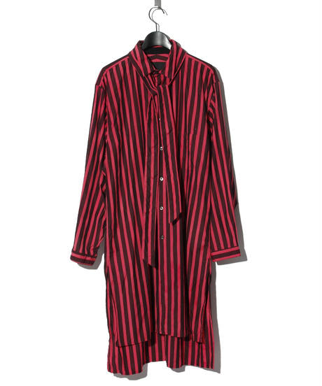 Back print striped long shirt RED/BLACK