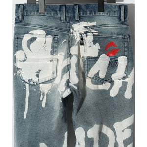 GRAPHIC PRINT DENIM PT / INDIGO
