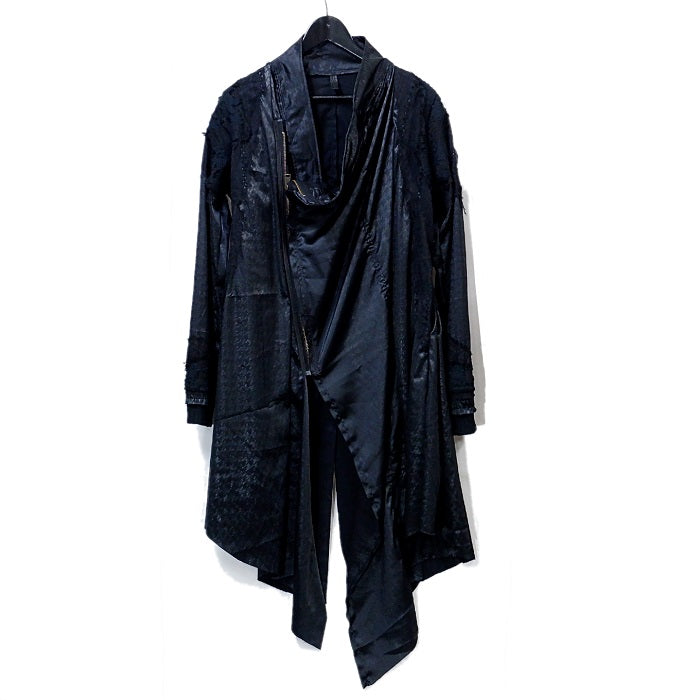 Shohei Takamiya Check Long Double Coat / BLACK
