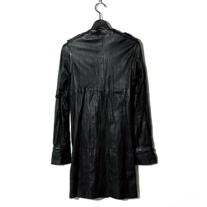 Leather Long Shirt Coat / BLACK