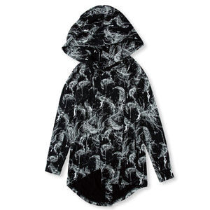 SWITCHBLADE FEATHER BUTTON PARKA / BLACK
