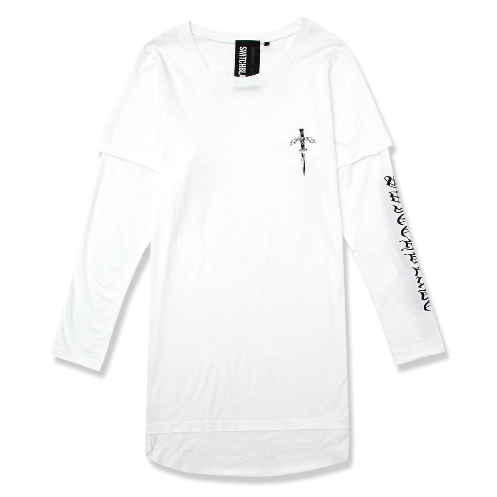 EMBROIDERY LAYERED L/TEE / WHITE