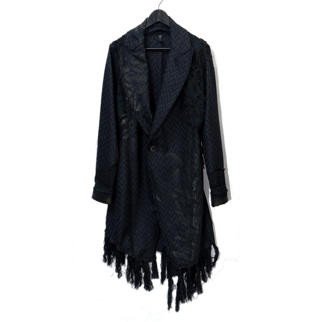 Shohei Takamiya Lace Fringe Chester Coat / BLACK