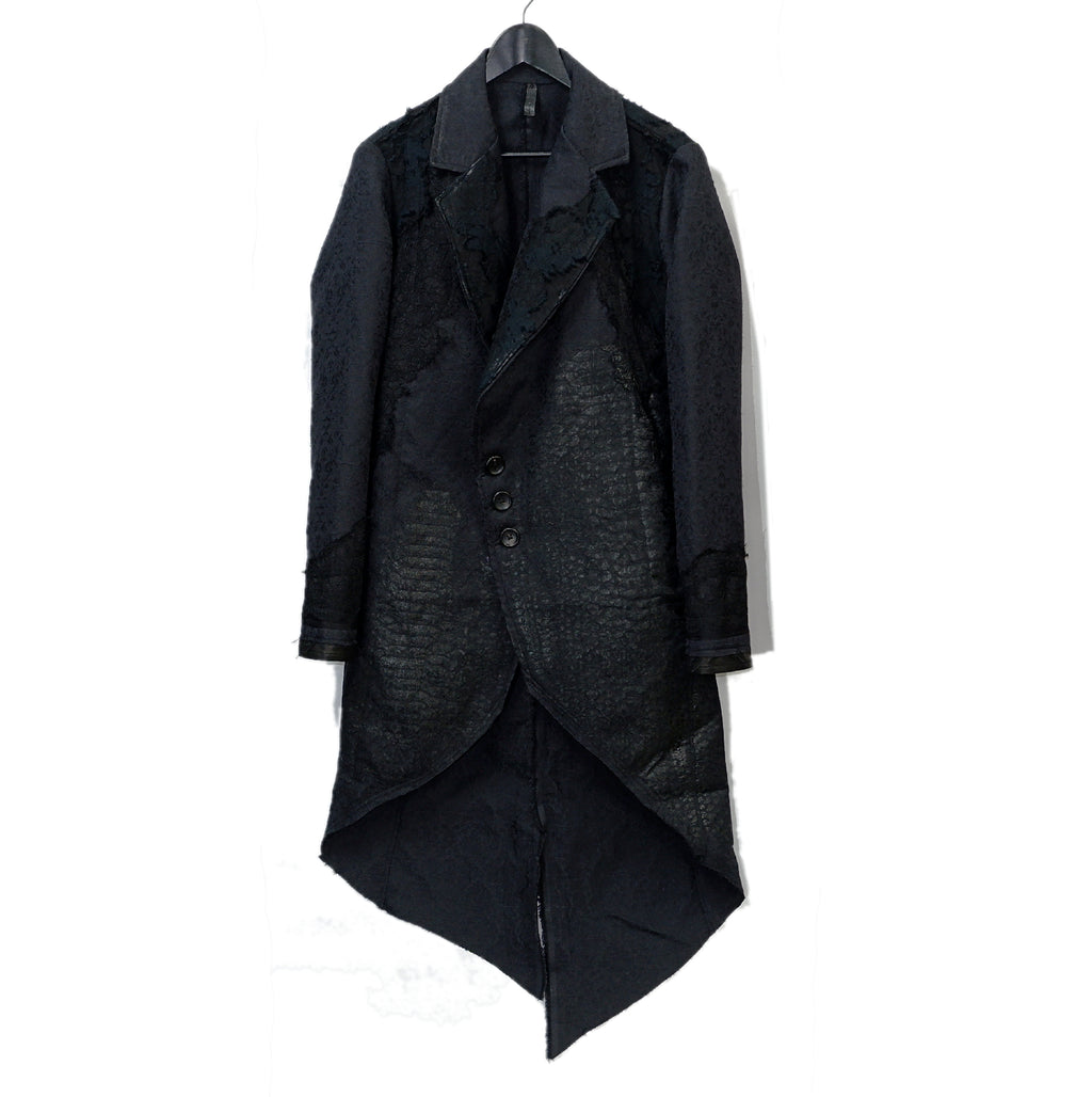 Shohei Takamiya Lace Long Chester Coat / BLACK