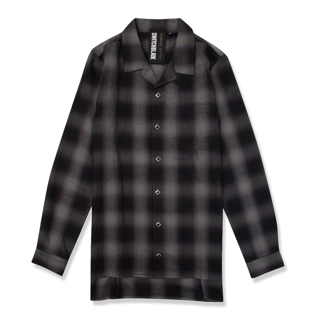 BACK METAL CHECK SHIRT / BLACK