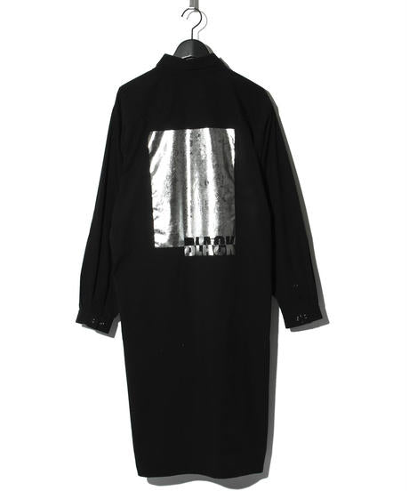 Solotex foil printed long shirt BLACK/SILVER
