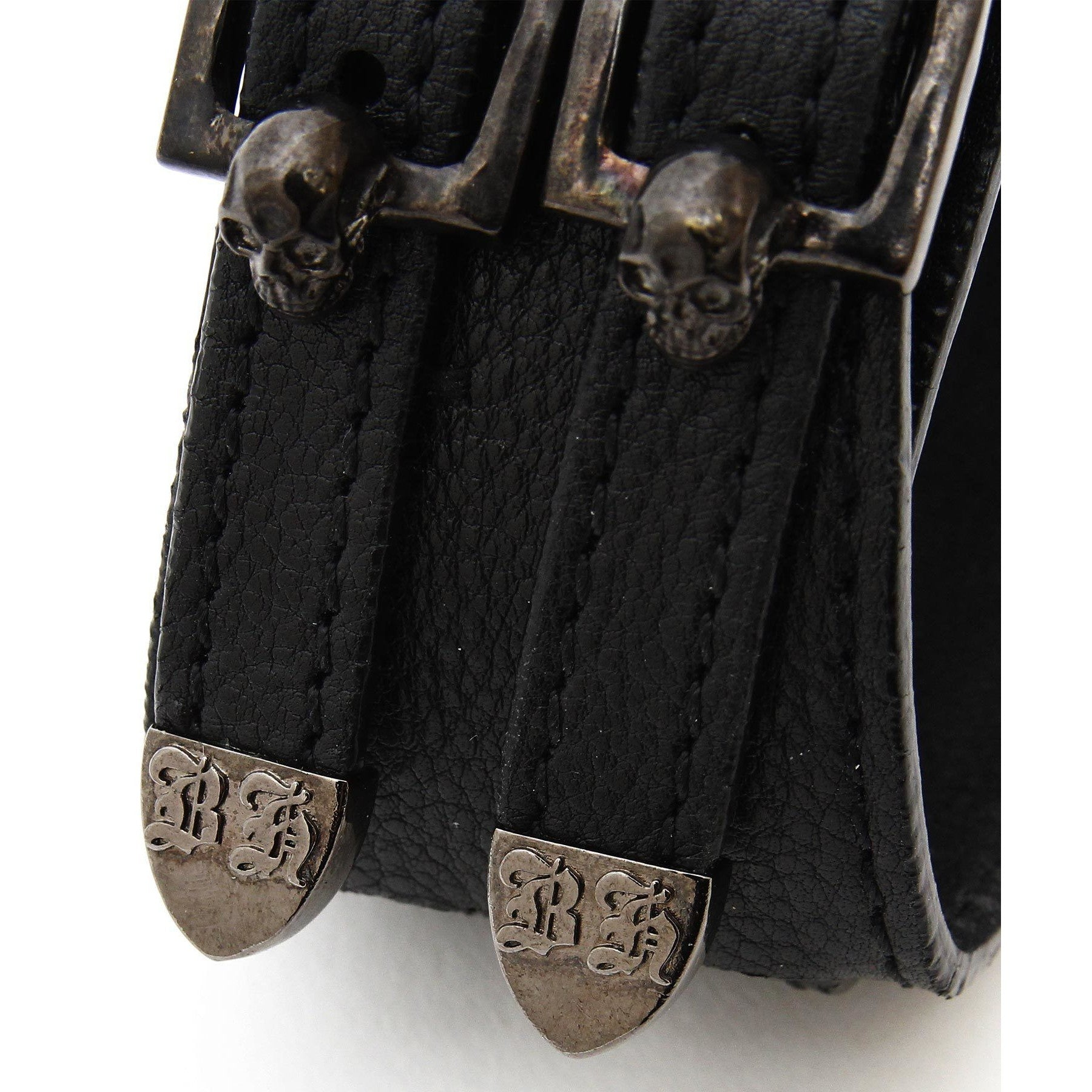 Skull Buckle Leather Bracelet / BLACK