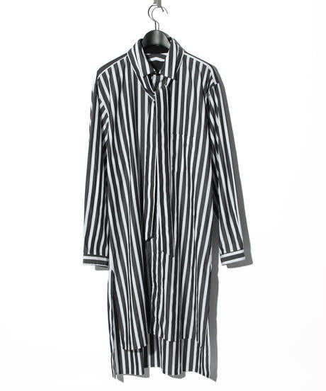 Back print striped long shirt WHITE/BLACK
