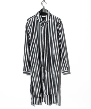 YS Yuji SUGENO Back print striped long shirt WHITE/BLACK