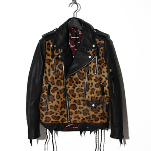 Hand-stitched Leopard Leather Rider's / BLACK LEOPARD