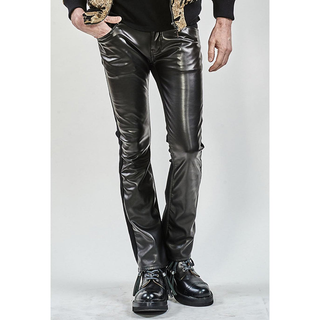 ys Yuji SUGENO  Royal Leather Changing Stretch boot cut Pants / BLACK