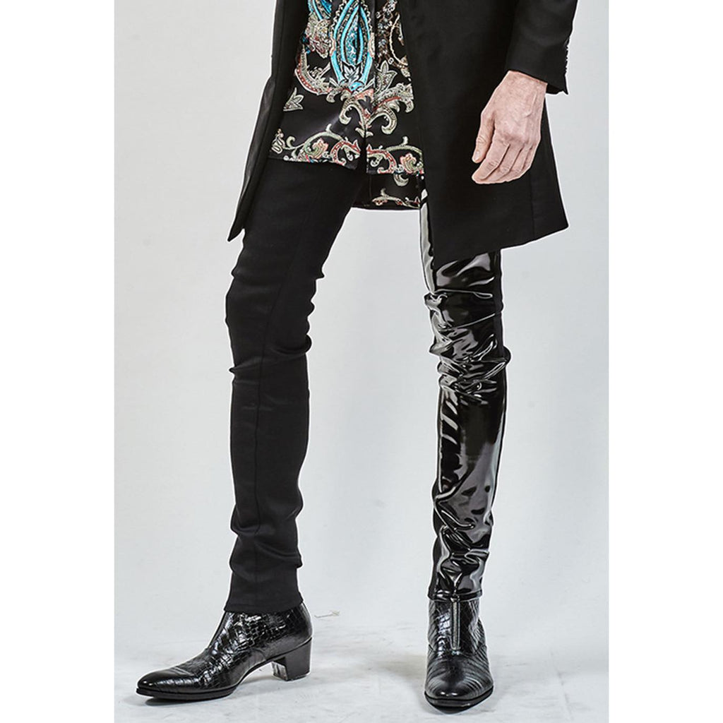 ys Yuji SUGENO Enamel changing stretch skinny denim pants / BLACK