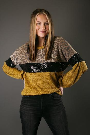 This is a sequin leopard ls top.