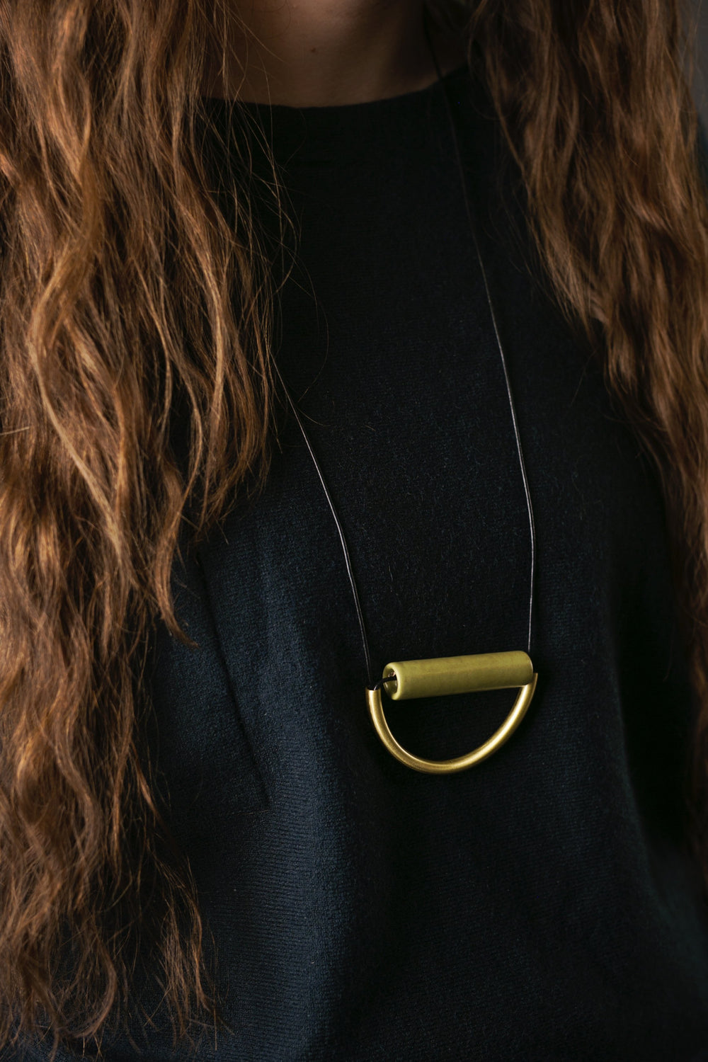 Olive Ceramic & Brass Necklace