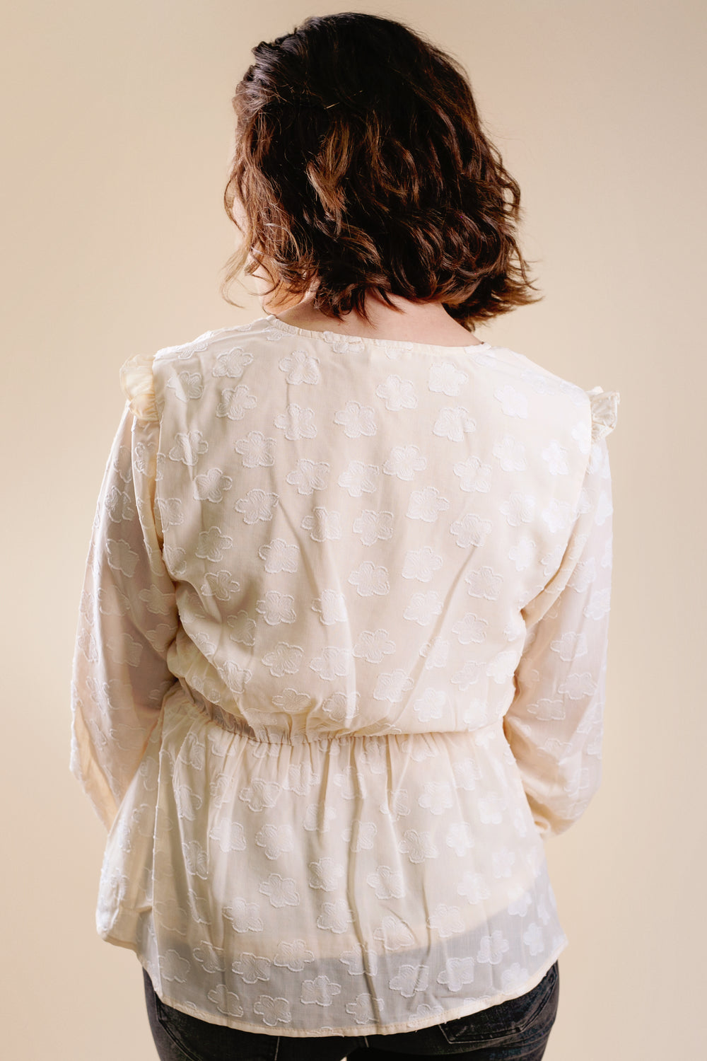 Bubble Sleeve Ruffle Top