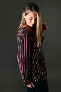Multi Striped Business Blouse