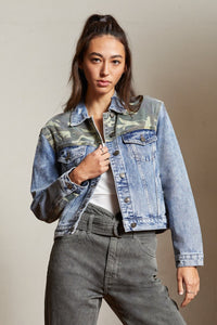 KanCan | Camo Light Denim Jacket