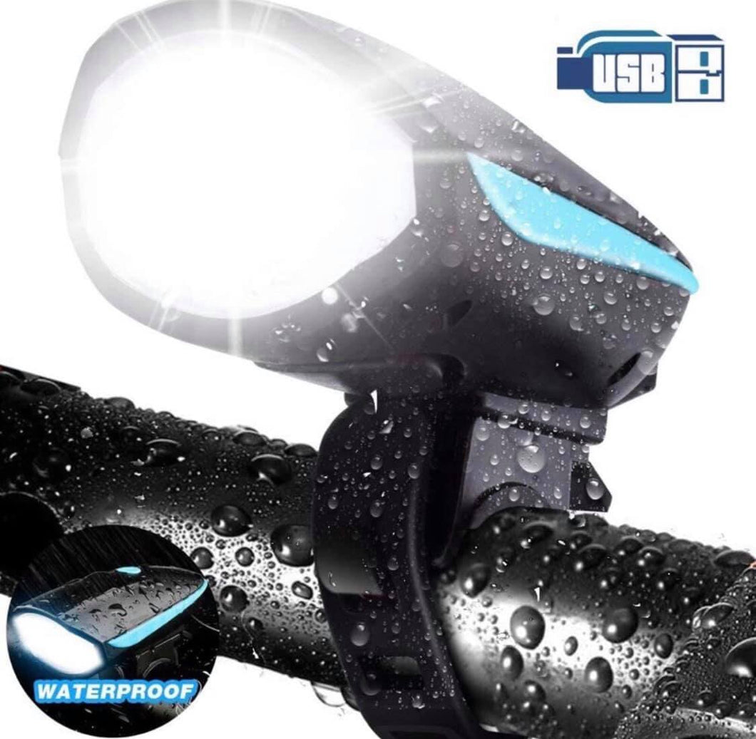 Rechargeable Waterproof Bicycle Light Front with Loud Sound Siren