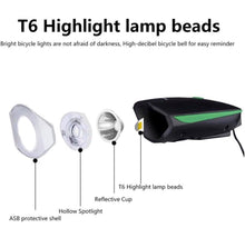 Load image into Gallery viewer, Rechargeable Waterproof Bicycle Light Front with Loud Sound Siren
