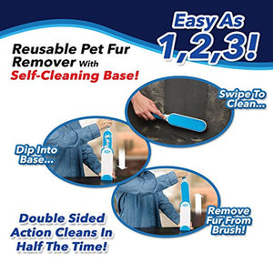 Portable Pet Hair, Fur & Lint Remover Brush with Self-Cleaning Base