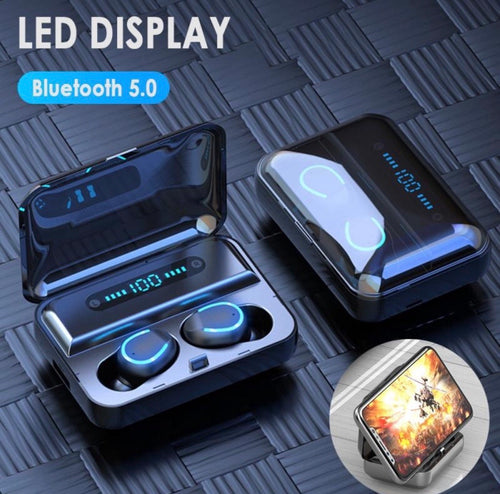 TWS BT Earbuds with LED Digital Power Display Charging Case / Powerbank / Phone Holder